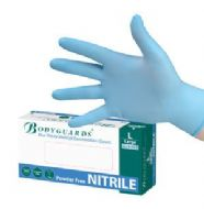 Bodyguards Blue Nitrile Powder Free Gloves. Box of 100